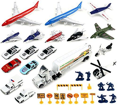 Diecast Airport - Airlines International Airplane Diecast Airport Playset, 32-piece