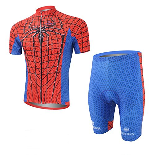 Cplus Sportware Men's Short Sleeve Spiderman Red Cycling Gel Pad Jersey Set M