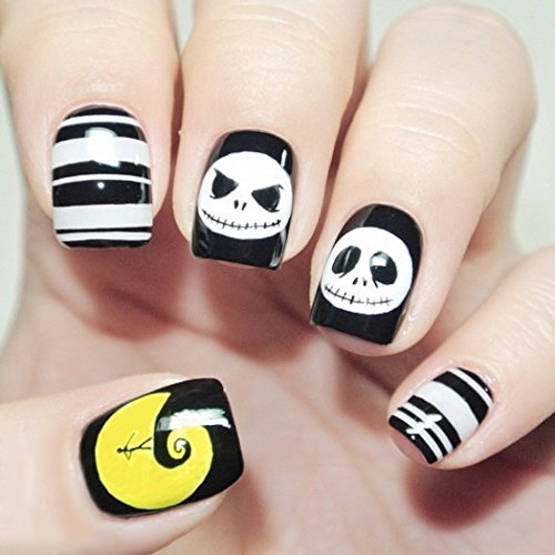 Yean Halloween False Nails 24Pcs/Set Yellow and Black Fake Nails Bridal White Full Cover Short Oval with Design Nail Tips Press on Nails with Glue and Adhesive Tab for Women and Girls