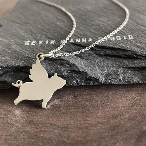 Sterling Silver Flying Pig Charm Pendant Necklace, ()