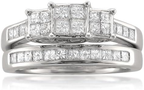 14k White Gold Princess-cut Three-Stone Diamond Engagement Bridal Ring Set (1 1/10 cttw, I-J, I1-I2)