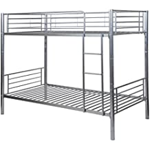 Merax Twin-Over-Twin Metal Bunk Bed in Silver Finish (Silver)