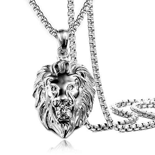 (Jewelry Kingdom 1 Mens Necklace Lion Pendant Necklace for Women and Men, Silver Plated Stainless Steel,Shiny Shiny CZ Diamond, Comes with Rope Chain 24