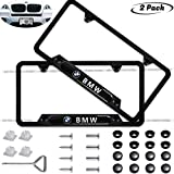 2-Pieces Before and After High-Grade Stainless Steel Resin Logo License Plate Frame for BMW,Strong and Sturdy Applicable to US Standard car License Frame (BMW)