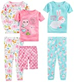 Simple Joys by Carter's Baby Girls 6-Piece Snug Fit Cotton Pajama Set, Bunny/Animals Green, 24 Months