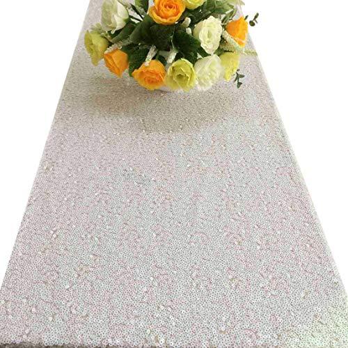 Shiny White Sequin Table Runner 14