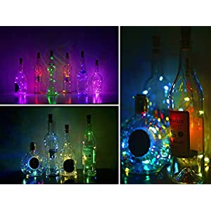 LoveNite Wine Bottle Lights with Cork, 10 Pack Battery Operated LED Cork Shape Silver Wire Colorful Fairy Mini String Lights for DIY, Party, Decor, Wedding(4 Colors)