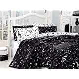 Single Twin Size Black White Love Music Written Music Aide-Memoire Duvet Cover Set With 4 Piece