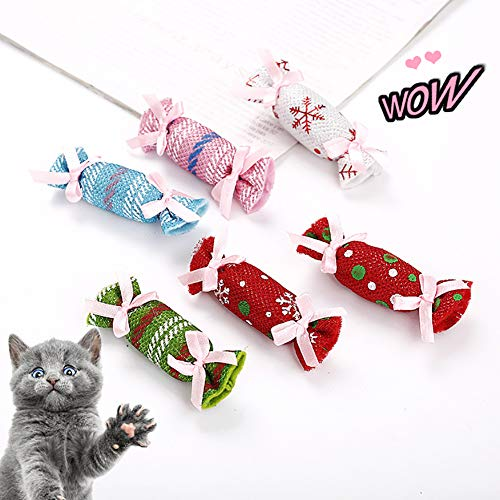 wintefei Candy Shape,Colorful,Cat Catnip Toy Pet Cat Kitten Interactive Teaser Chew Scratch Christmas Candy Catnip Sachet Toy - Random Color