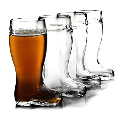 Stolzle Biersiefel 1 Liter Glass Beer Boot, Set of 4 by Stolzle