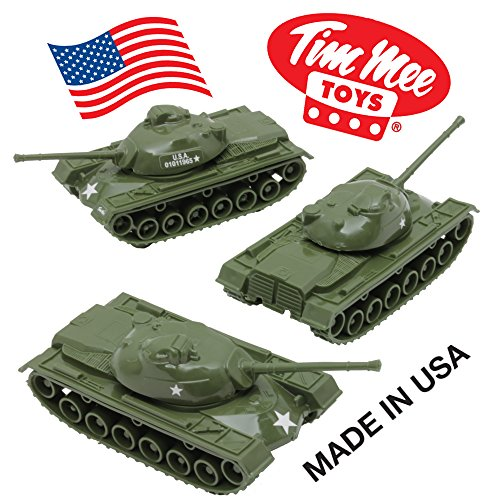 TimMee Toy TANKS for Plastic Army Men: Green WW2 3pc - Made in USA (Real Tank Army)