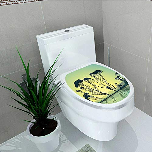 ration Bathroom Toilet Cover Sticker Crystal Tree Silhouettes Reflections in The Water National Park Restroom Wall Decals W15 x L17 ()