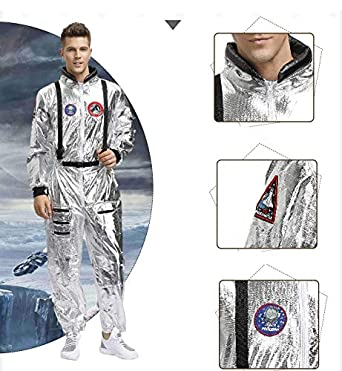 LumeMery Spaceman Costume Astronaut Role-Play Costume Set Women Man Couple Space Uniform Jumpsuit Halloween Outfit Fancy Dress Cosplay Suit