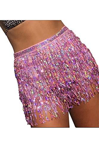 Kelice Gonne delle donne Shining nappa paillettes Party Dancing Mini Skirt Pink