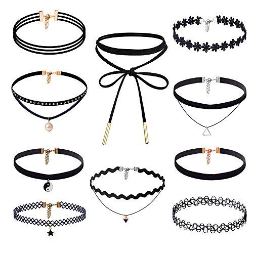 Zealor 10 Pieces Choker Necklace Set Stretch Velvet Classic Gothic Tattoo Lace Choker Necklaces