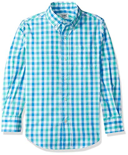 LOOK by Crewcuts Boys' Long Sleeve Gingham Shirt, Blue/ Green Check, Large (10)
