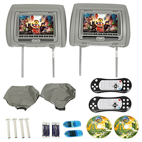 "Rockville RVD721-GR 7"" Gray Dual DVD/USB/HDMI/SD Car Headrest Monitors + Games by Rockville"