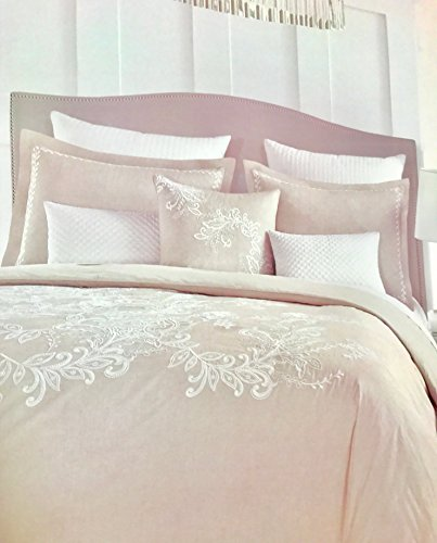 Tahari Home 3 Piece Full/Queen Duvet Set - Beige/Tan Beautifully Embroidered Floral Paisley Stitching with White Thread, 100% Cotton (Embroidered Floral Duvet)