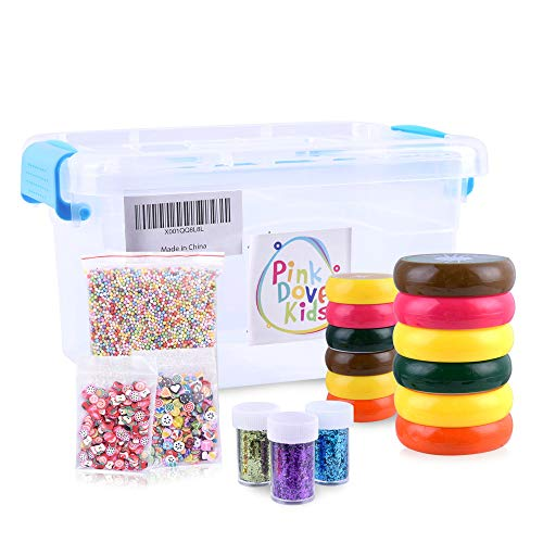 Magic Fruit Slime Toy Kit For Kids - Includes Fruity Putty Slices, Colorful Glitter Jars, Mini Polymer Pieces & Styrofoam Balls - 18 Pack