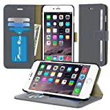iPhone 6s Plus Case, roocase [Prestige Folio] iPhone 6s Plus Wallet Case Folio Flip Cover Card Holder with Full Screen Cover Tempered Glass (Black Edge) for Apple iPhone 6s Plus / 6 Plus (2015), Gray