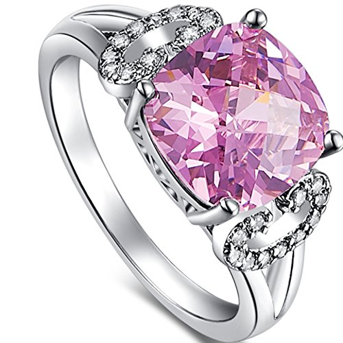 Veunora 925 Sterling Silver Created 8x8mm Cushion Cut Pink and White Topaz Filled Ring for Women (Turtle Rhodium)