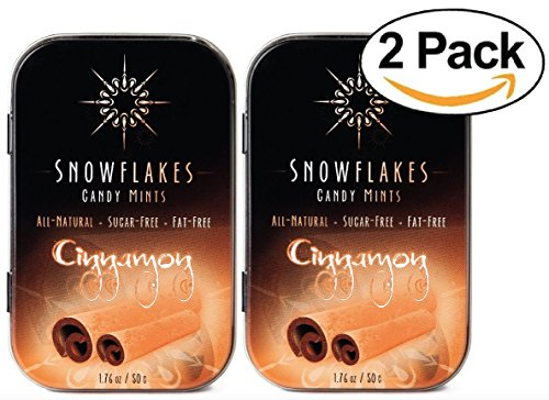 Candy Artificial - Cinnamon Xylitol Candy Chips (2-Pack) - Snowflakes (2) 50g Tins - Handcrafted with ONLY 2 Ingredients | Diabetic-friendly, Non-GMO, Vegan, GF & Kosher | Purest sugar-free candy in the world!