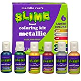 Maddie Rae's Food Coloring Kit - 6 METALLIC Color Variety Kit - Safe, Food Grade Non Toxic Formula for all Slime Making