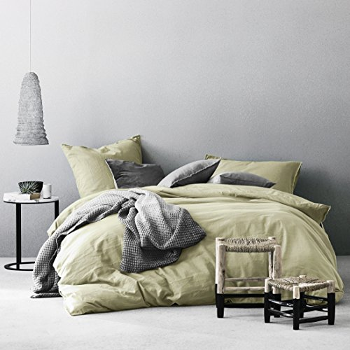 Eikei Washed Cotton Chambray Duvet Cover Solid Color Casual Modern Style Bedding Set Relaxed Soft Feel Natural Wrinkled Look (King, Lime Olive)