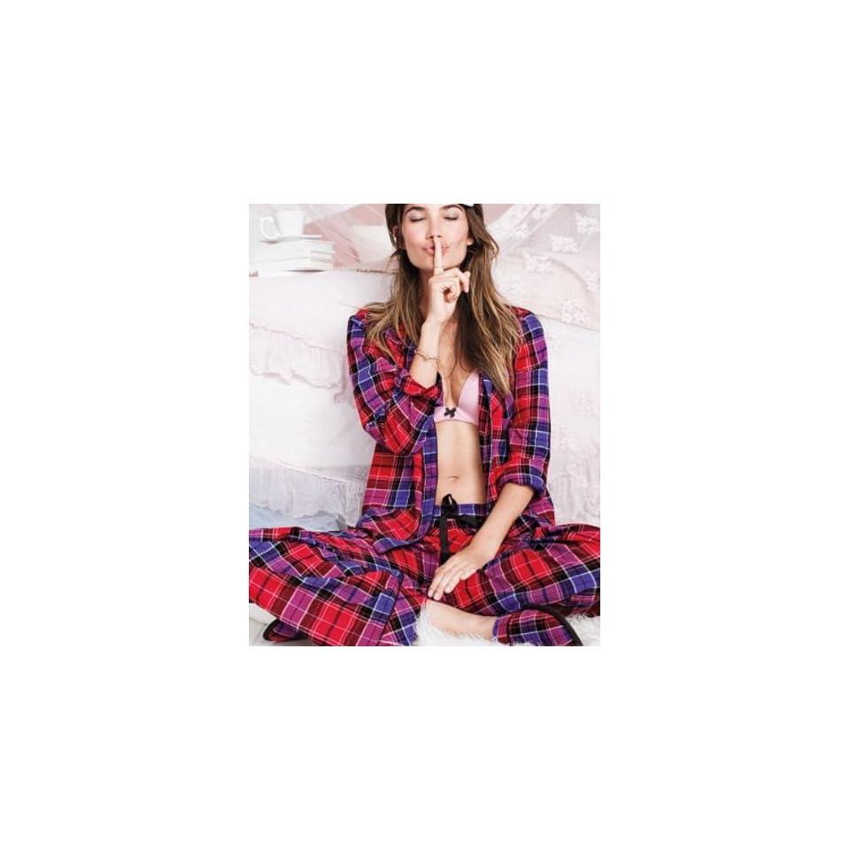 Victorias Secret The Dreamer Red Plaid Flannel Pajama Set Large