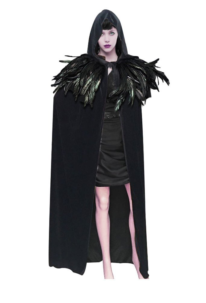 L'vow Fashion Gothic Hooded Mens Black Feather Cape Cloak Long Coats