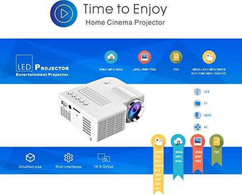 KATAIMUZI 2018Projectors Mini Projectors HD 1080P Portable Video Projector LED Multimedia Home Theater Movie Projector 1500 Lumens LCD Mini Projector with 200 INCH Giant Image (White)