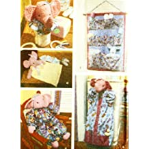 OOP Simplicity Home Pattern 9709. Nursery Accessories: Stuffed Elephant Doll; Diaper Stacker; Security Blanket; Growth Chart; Jar Cover; Wall Organizer