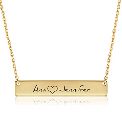 ff6baf418eb27 Yoke Style Personalized Bar Name Necklace with Birthstone, 18K Gold Plated  Custom Layered Initial Necklace Jewelry Gift for Women