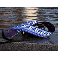 Lucky Elephants camera strap. Ethnic camera strap. Dark purple DSLR / SLR Camera Strap with Indian motives. Durable, light weight and well padded camera strap. code 00001