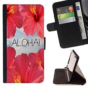 BullDog Case - FOR/Samsung Galaxy Core Prime / - / aloha flowers sky nature sun Hawaii /- Monedero de cuero de la PU Llevar cubierta de la caja con el ID Credit Card Slots Flip funda de cuer