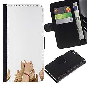 All Phone Most Case / Oferta Especial Cáscara Funda de cuero Monedero Cubierta de proteccion Caso / Wallet Case for Apple Iphone 4 / 4S // Funny - THUMBS UP