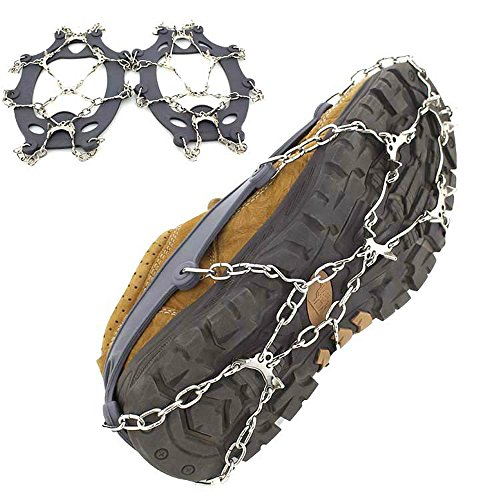 chen gui jin ke ji Co.,Ltd. 10 Teeth Traction Cleats,Ice Snow Grips Anti Slip Stainless Steel Spikes Crampons for outdoor activities,Hiking,climbing,Hunting,Fishing and Snow weather(L) by chen gui jin ke ji Co.,Ltd.