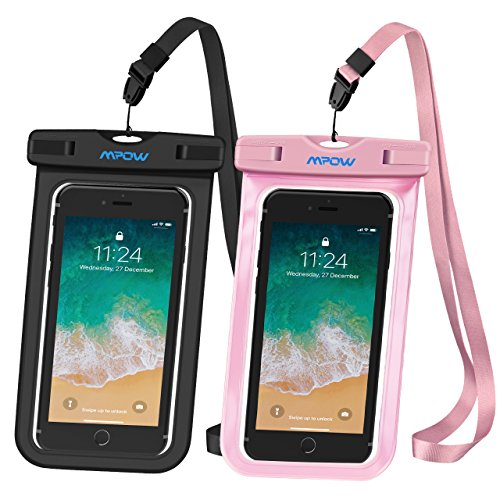 Mpow Universal Waterproof Case, IPX8 Waterproof Phone Pouch Dry Bag Compatible for iPhone Xs Max/Xs/Xr/X/8/8plus/7/7plus/6s/6/6s Plus Galaxy s9/s8/s7 Google Pixel HTC12 (Black+Pink 2-Pack) by Mpow (Image #7)
