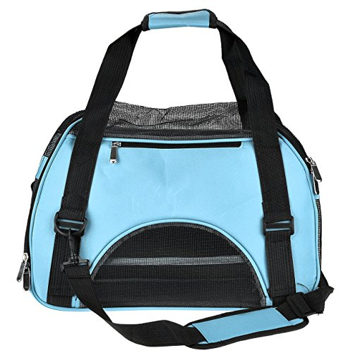 CozyCabin Pet Carrier Airline Approved Comfort Soft-sided Pet Dog Carrier Bag Travel Tote Purse Soft Sided for Hiking Bike Travel (S M&L) (M, Blue)
