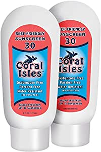 2 Pack - SPF 30-6 oz Coral Isles REEF FRIENDLY & Safe Sunscreen - Broad Spectrum, NO Oxybenzone, NO Octinoxate, NO Parabens, Water Resistant 80 min Sun Cream Lotion