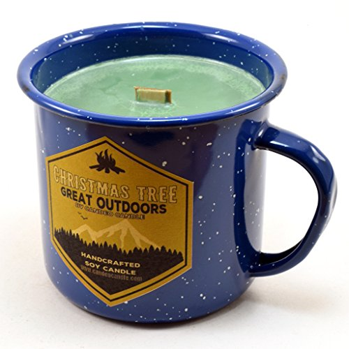 Christmas Tree Wood Wick Soy Candle in an Enamel Camping Mug, 10 oz ()