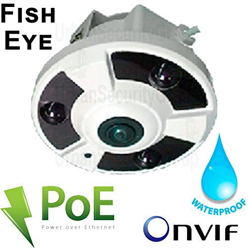 USG Business Grade 4MP 2592x1520 Fish-Eye Ultra HD IP Network Dome Security Camera : 1.7mm Ultra Wide Angle Lens : Power Over Ethernet : ONVIF : Outdoor Indoor Low Profile Dome : 3x IR LEDs by Urban Security Group