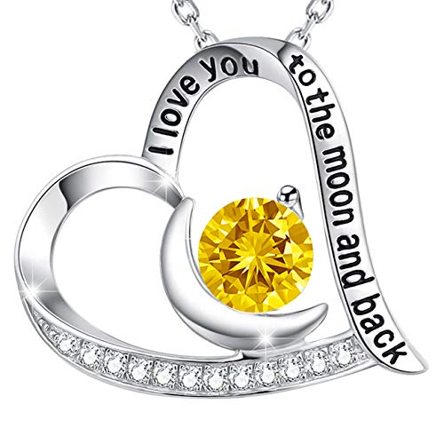 Gift Yellow Citrine November Birthstone Necklace I Love You to The Moon Back Heart Pendant Sterling Silver Fine Jewelry Birthday Gift for Women for Her