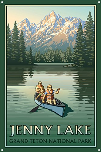 Jenny Lake Grand Teton National Park Canoers Metal Art Print by Paul Leighton (12