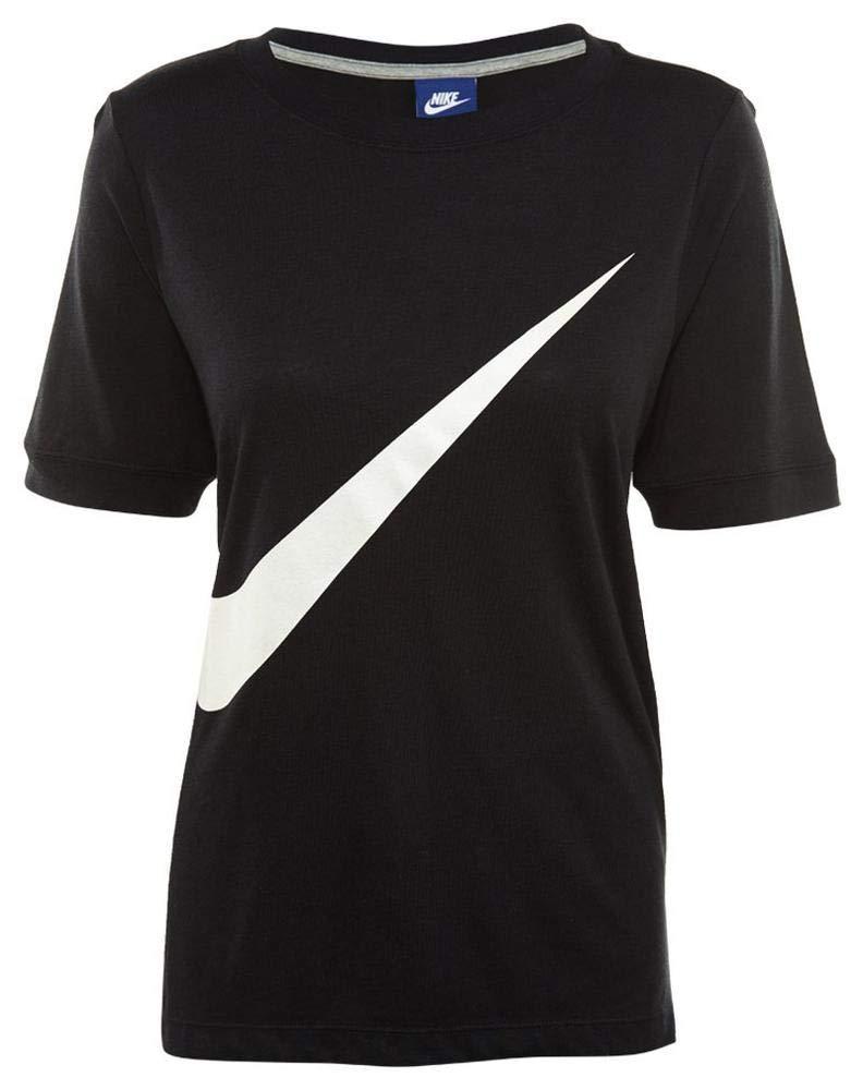TALLA M. Nike W NSW SS Prep Camiseta de Manga Corta, Mujer, Negro (Black/White), M