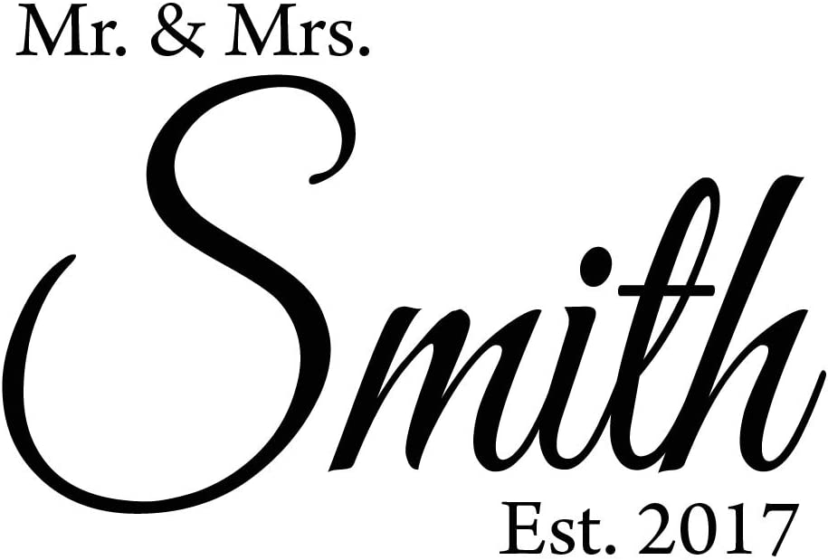 Mr. & Mrs. Custom Wall Decal with Date Established -Insert Name- Personalized Wedding Decal VWAQ-CS6 (15