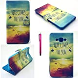 SONY E3 Case, JCmax Colorful Clouds Premium Synthetic Leather Wallet Case [2 Layer Protection] Slip & Scratches Resistant For SONY E3 (Free Gifts: 1x Stylus)-The Sun