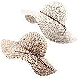 FURTALK Summer Beach Sun Hats for Women UPF Woman Foldable Floppy Travel Packable UV Hat Cotton, Wide Brim Hat (Medium Size (Head Size 22.44''), Beige/Khaki)