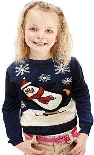0753a61e0aff7 Pull de Noël – Bleu au motif de Penguin faisant du Patin à Glace – Tailles