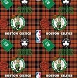 NBA Boston Celtics Plaid Basketball Sports Team Fleece Fabric Print by the yard
